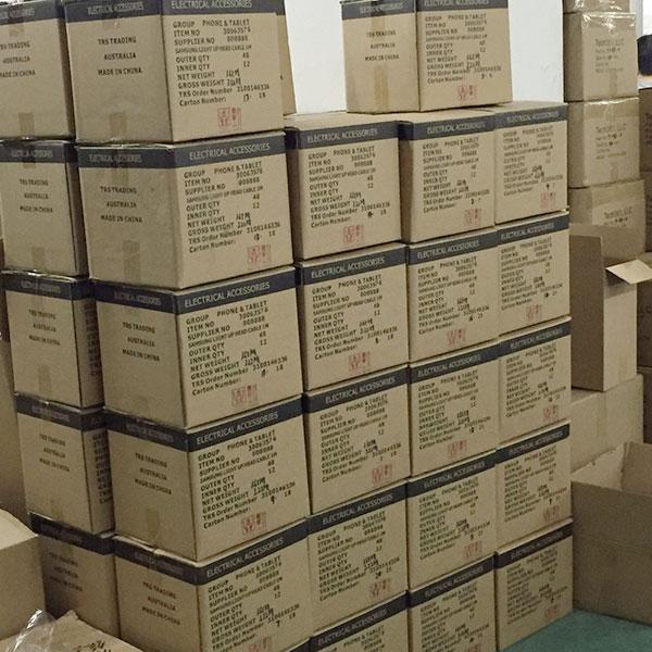 宏浩達數據線工廠成品數據線包裝出口產品放置區